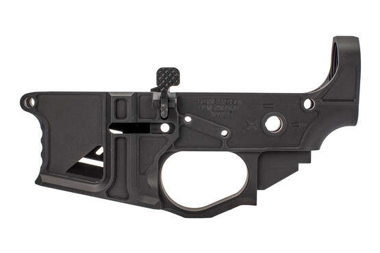 Seekins skeletonized ambidextrous NX15 billet AR 15 lower reicever with trigger finger indexes.