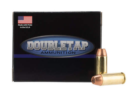 DoubleTap Ammunition Bonded Defense 10mm Auto with 180gr Jacketed Hollow Point ammo, 20-per box.