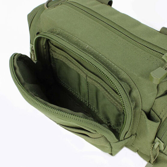 Deployment Bag from Condor in OD Green has zip closure compartments