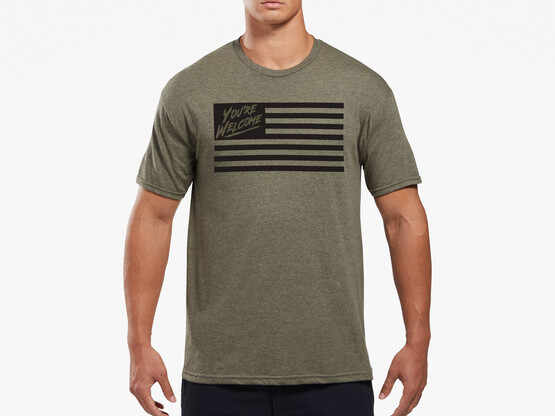 Viktos Grateful Nation Short Sleeve T-Shirt in olive heather with screen printed graphic