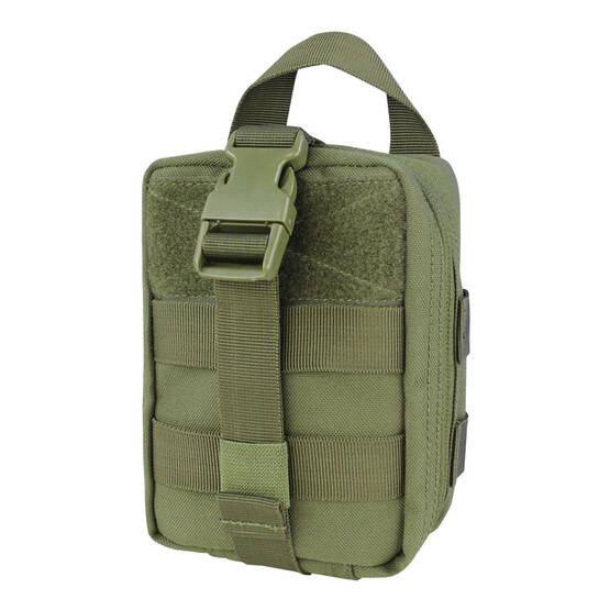 Condor Rip Away EMT Lite Pouch in OD Green features a clam shell design