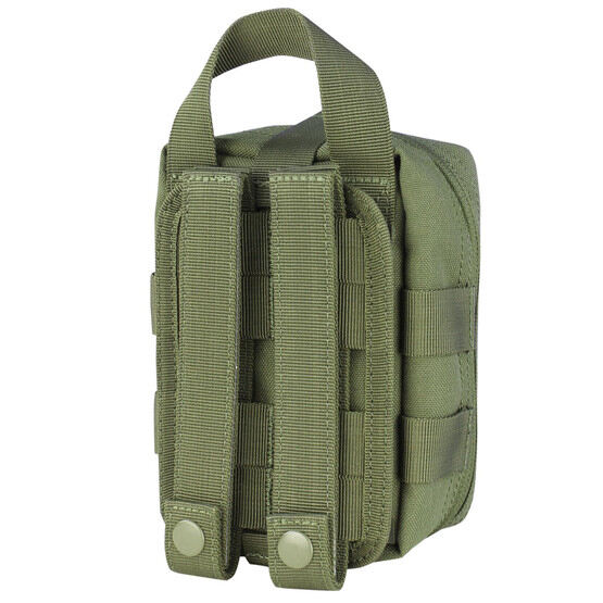 Condor Rip Away EMT Lite Pouch in OD Green has a hook back with loop panel