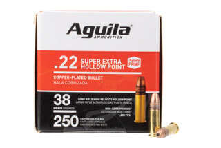 Aguila Standard High-Velocity 22LR 38gr Copper HP Ammo has a brass case
