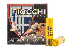 "Fiocchi High-Velocity 20ga 2.75"" 1oz 8 Shot comes in a Box of 25"
