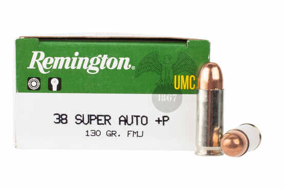 Remington UMC 38 Super ammunition is loaded with a 130 grain FMJ bullet