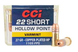 CCI 22 Short copper plated hollow point rimfire ammo in a box of 100