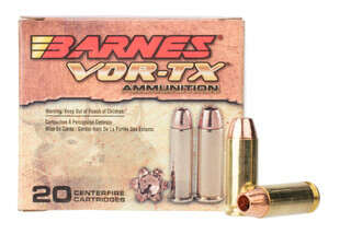 Barnes Vor-TX 10mm auto ammo features a 155 grain lead free hollow point