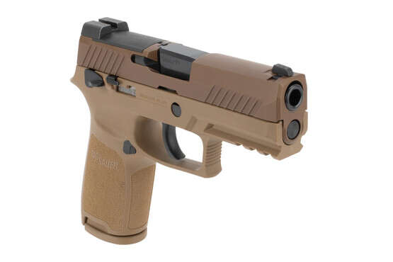 SIG Sauer P320 M18 9mm Optics Ready Pistol has a coyote tan slide and grip