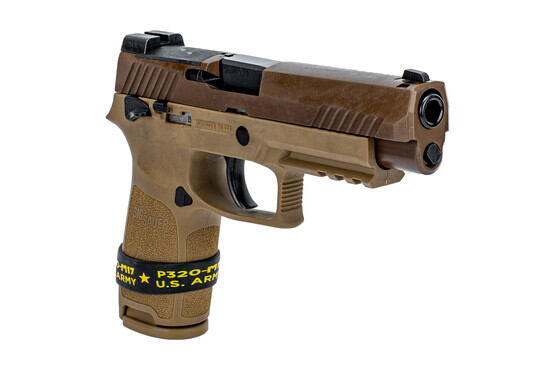 SIG Sauer manual safety P320 M17 handgun in 9mm features manual safety and coyote frame
