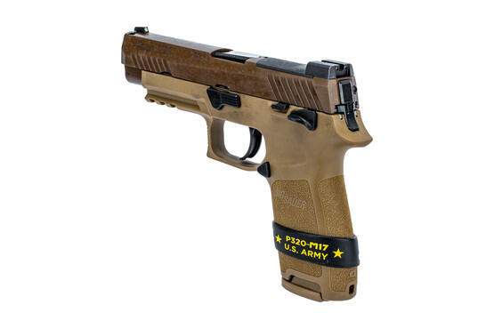 SIG Sauer P320 M17 US Army edition in coyote bbrown features a manual safety