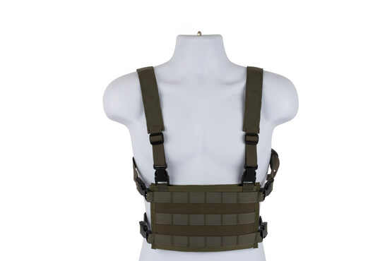 High Speed Gear olive drab green light chest rig is a lightweight but highly functional MOLLE platform