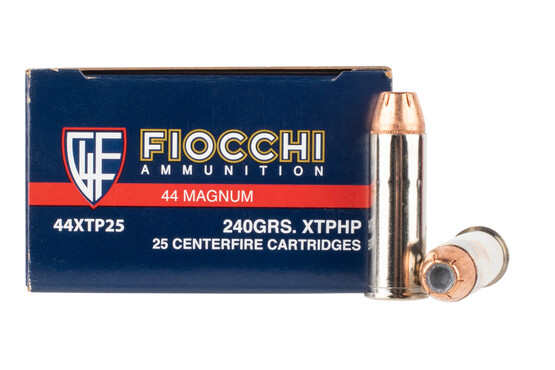 Fiocchi Extrema .44 Mag 240Gr XTP Jacketed Hollow Point rounds features brass casing