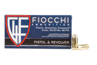 Fiocchi 45 ACP Full Metal Jacket Ammo comes in a box of 50 rounds