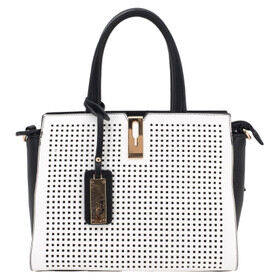 Cameleon Bags Artemis Concealed Carry Purse in Black and White with reinforced handle