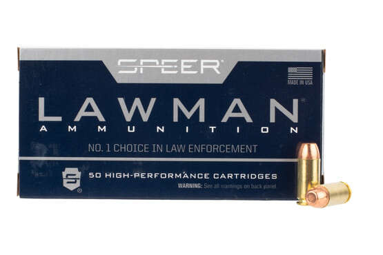 Speer Lawman 40 S&W ammo features an FMJ flat point bullet