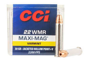 CCI 22 WMR Maxi Mag +V rimfire ammo features a 30 grain hollow point bullet