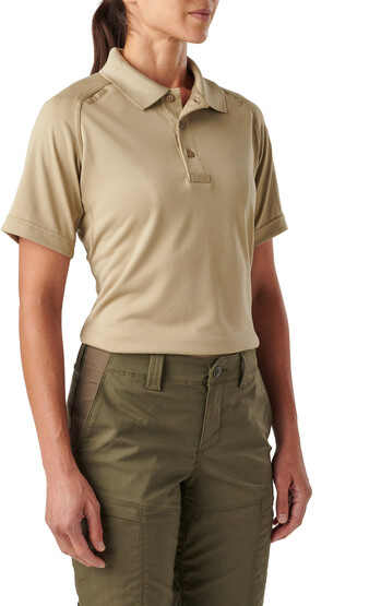 5.11 Women's Tactical Performance Short Sleeve Polo in Silver Tan