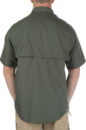5.11 Tactical TACLITE Pro Short Sleeve Shirt in TDU green, rear view