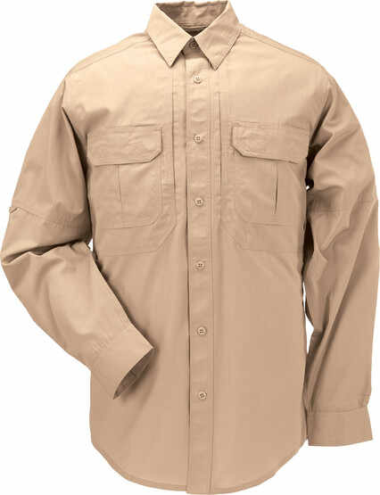 5.11 Tactical TACLITE Pro Long Sleeve Shirt in Coyote, front view