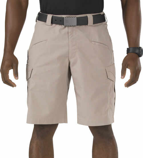 "5.11 Tactical Stryke Short - 11"" in khaki, front view"