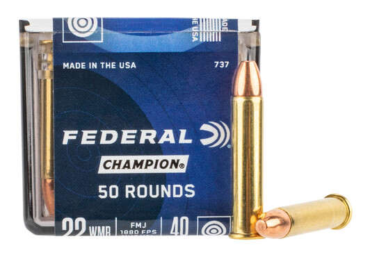 Federal 22 WMR rimfire ammo comes in a box of 50 rounds