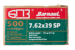 Barnaul 7.62x39 123gr Full Metal Jacket Ammo come in a box of 500