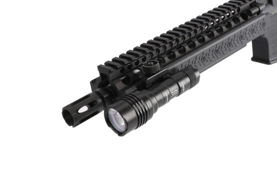 The Streamlight Protac light attached to a picatinny rail with integrated mount