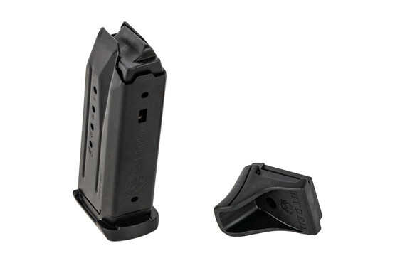 The Ruger SR9C Magazine holds 10 rounds and comes with a polymer grip extension