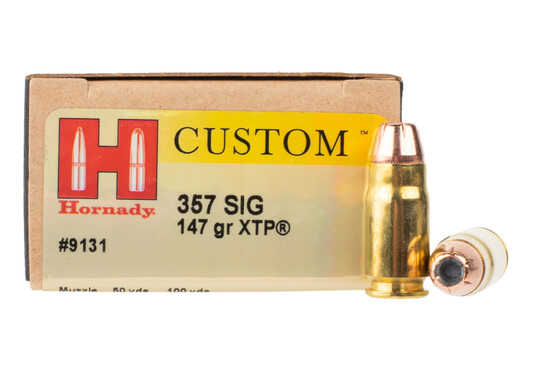 Hornady Custom 357 SIG ammunition is loaded with the XTP hollow point bullet