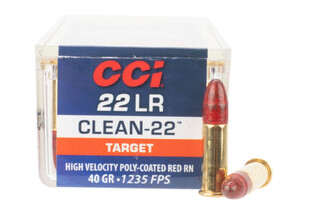 CCI Clean-22 long rifle high velocity rimfire ammo features a polymer coated bullet