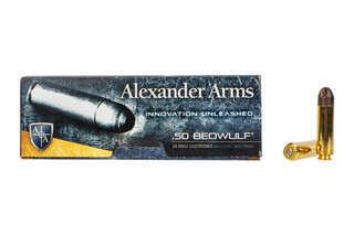 Alexander Arms 200gr Polycase ARX .50 Beowulf ammo includes 20 rounds per box.