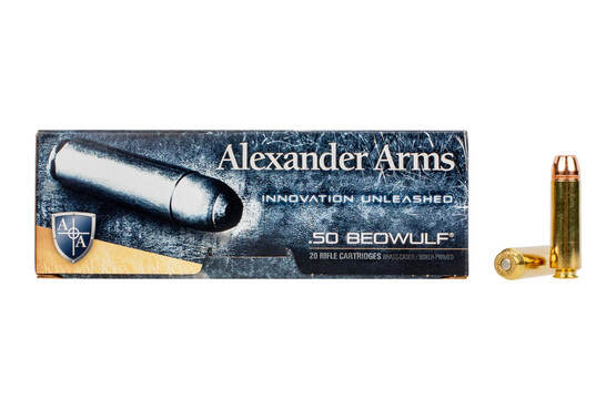 Alexander Arms 350gr Hornady XTP .50 Beowulf ammo includes 20 rounds per box.