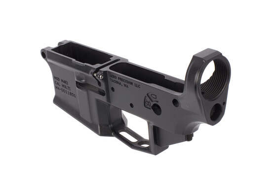 The Aero Precision M4E1 Stripped AR lower receiver features a threaded bolt catch roll pin