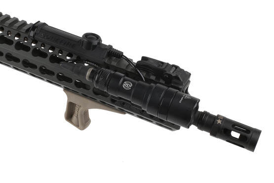 The Bravo Company BCM Gunfighter KAG angled KeyMod grip in FDE attached to an AR-15