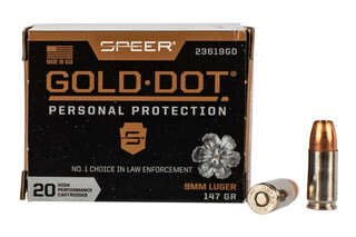 Speer Gold Dot 9mm Hollow Point Ammunition features a nickel plated brass case