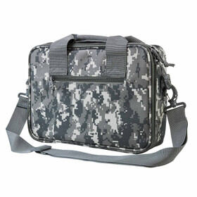 NcSTAR VISM Double Pistol Range Bag in digital camo has an adjustable shoulder strap