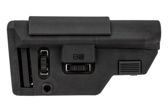 B5 Systems AR15 Collapsible Precision Stock is made from black reinforced polymer