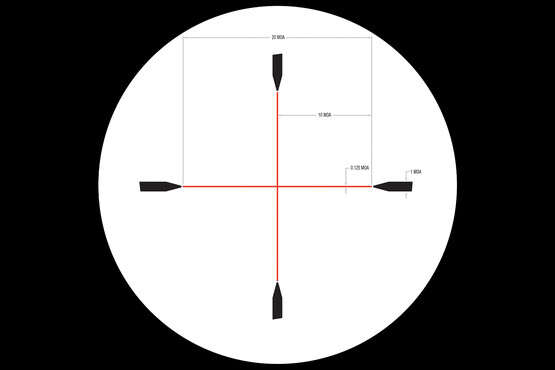 Subtensions and measurements for the Trijicon Credo HX 1-4x rifle scope's red illuminated duplex reticle.