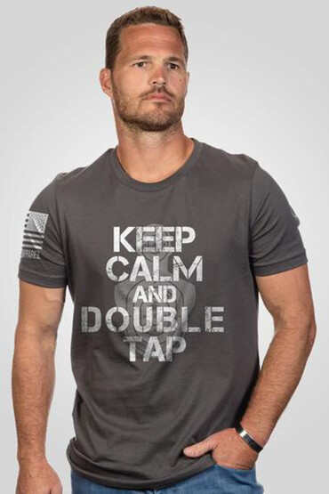 Nine Line Keep Calm and Double Tap Short Sleeve T-Shirt in grey, front view