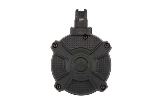 ProMag industries 7.62x39mm polymer drum has steel reinforced feed lips and locking tabs to hold 50-rounds