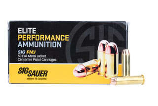 SIG Sauer 357 Magnum full metal jacket ammo features a 125 grain bullet