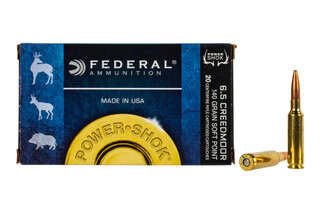 Federal PowerShok 6.5 Creedmoor ammo features a 140 grain soft point bullet