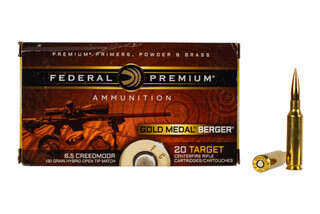 Federal Gold Medal 6.5 Creedmoor ammo features the Berger Hybrid Open Tip Match bullet
