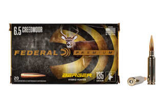 Federal Premium 6.5 Creedmoor hunting ammo features the 135 grain Berger Hybrid Hunter bullet