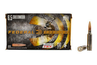 Federal Premium 6.5 Creedmoor is loaded with the Barnes TSX all copper hollow point 130 grain bullet