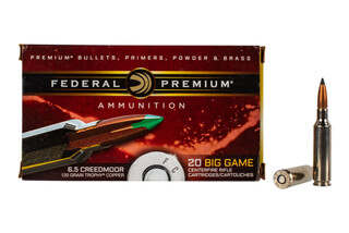 Federal Premium 6.5 Creedmoor Trophy Copper Amm features a 120 grain polymer tipped boat tail bullet