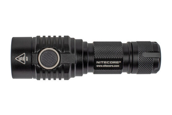 The Nitecore MH23 1800 Lumen light features a rubber side switch with LED battery indicator