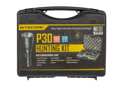 The Nitecore P30 Flashlight hunting kit comes with a charger and weapon mount