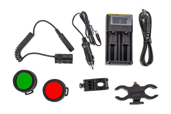 The Nitecore p30 flashlight hunting kit comes with a battery charger