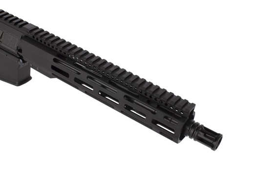 Radical Firearms 5.56 NATO AR pistol with 10.5in barrel is threaded 1/2x28 and topped with a highly effective A2 flash hider